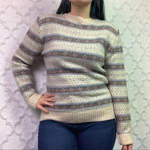 Vintage Cream Fair Isle Crewneck Sweater